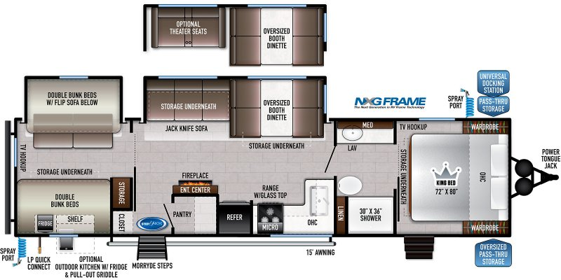 2021 FOREST RIVER EAST TO WEST DELLA TERRA COLLECTION 312 BH Floorplan
