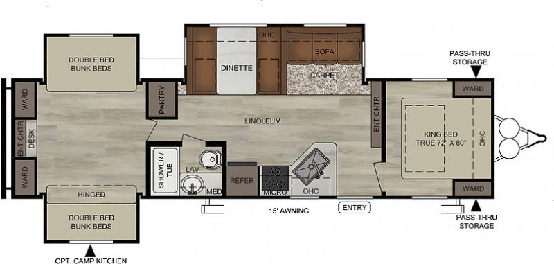 2019 FOREST RIVER EAST TO WEST DELLA TERRA COLLECTION 31 K3S Floorplan