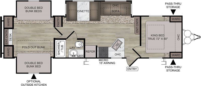 2021 FOREST RIVER EAST TO WEST DELLA TERRA COLLECTION 323 QB Floorplan