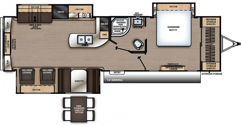 2020 COACHMEN Catalina 333 RETSLE for Couples Floorplan