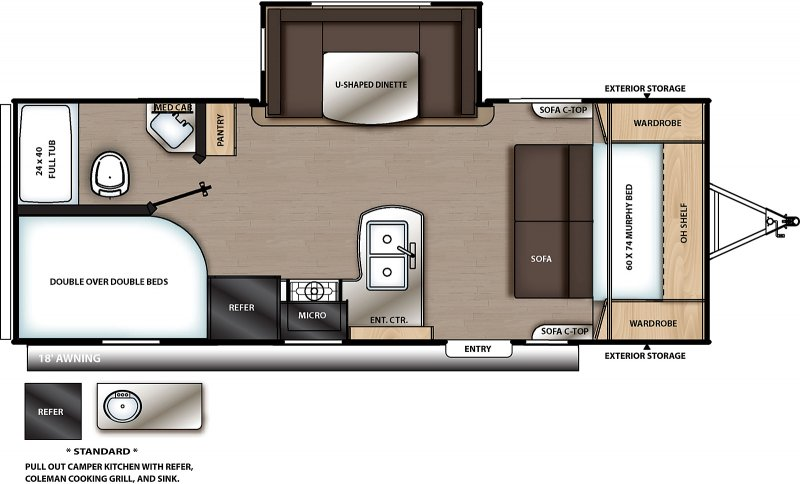 2020 COACHMEN Catalina Summit 221 DBSCK Floorplan