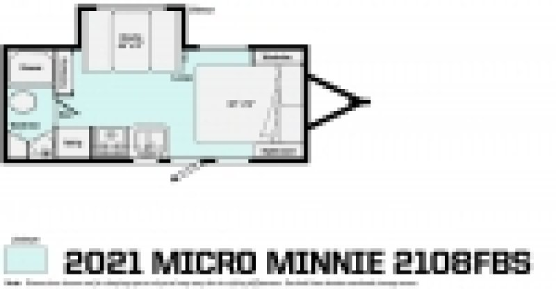 2021 WINNEBAGO Micro Minnie 2108FBS Floorplan