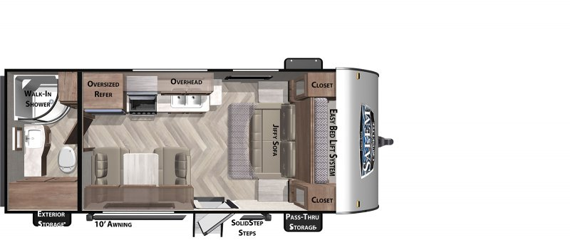 2021 FOREST RIVER Cruise Lite 171RBXL Floorplan