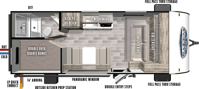 2021 FOREST RIVER SALEM FSX 179DBK Floorplan