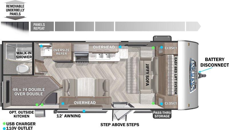 2022 SALEM BY FOREST RIVER CRUISELITE 19DBXL Floorplan
