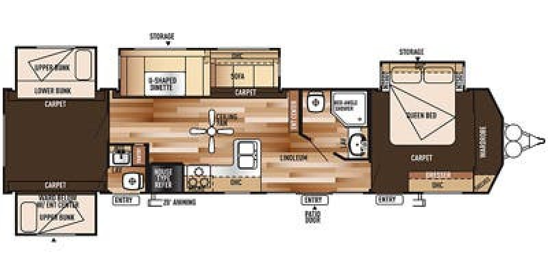 2015 FOREST RIVER VILLA CLASSIC 402QBQ Floorplan