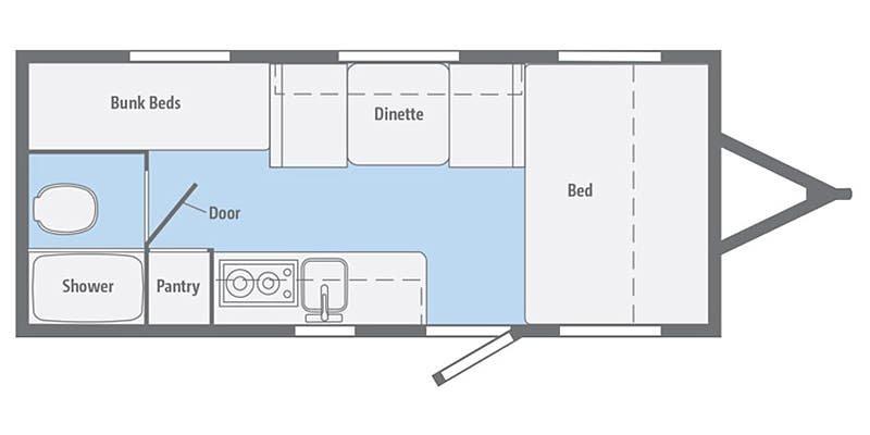 2019 WINNEBAGO Micro Minnie 1700BH Floorplan