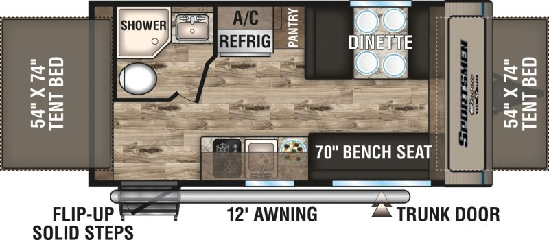 2020 K-Z INC. SPORTSMEN CLASSIC 160RBT Floorplan