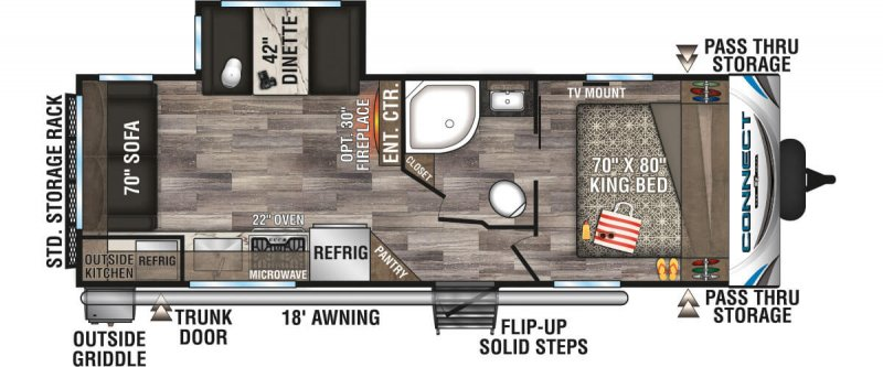 2020 K-Z INC. Connect 241RLK Floorplan
