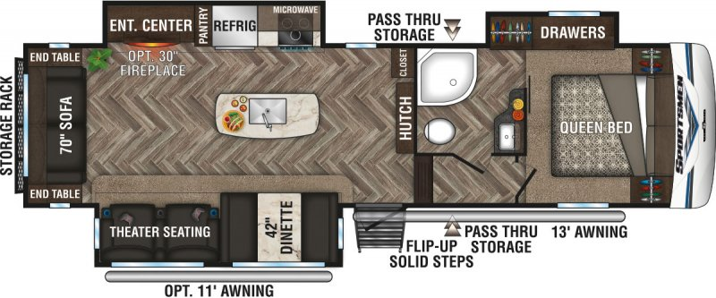 2020 K-Z INC. Sportsmen 303RL Floorplan