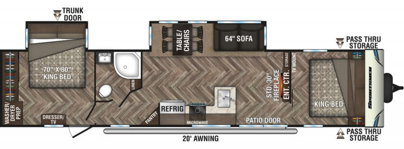 2020 SPORTSMEN  BY KZ INC DESTINATION 362DB Floorplan
