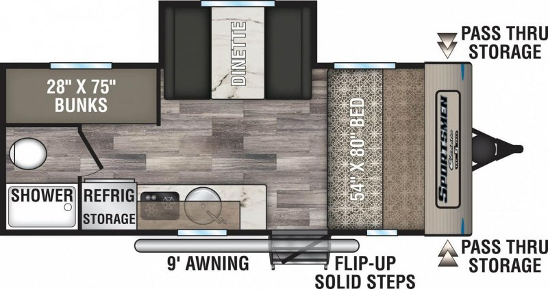 2020 K-Z INC. SPORTSMEN CLASSIC 181BH Floorplan