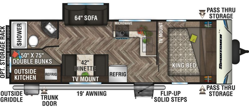 2020 K-Z INC. Sportsmen LE 261BHKLE Floorplan