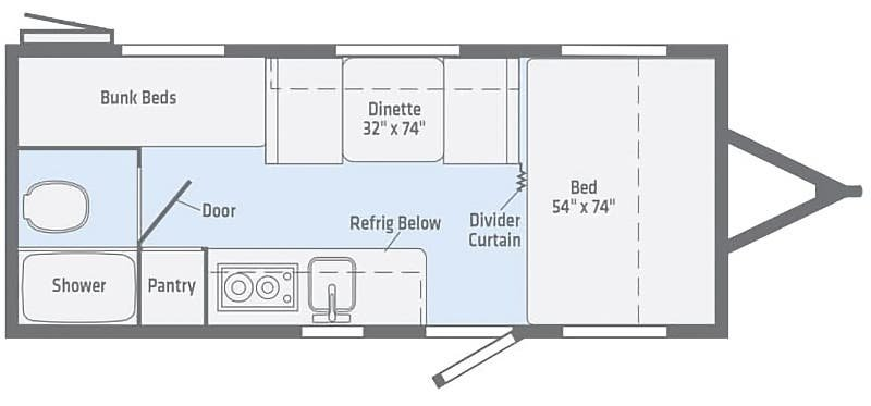 2019 WINNEBAGO Micro Minnie 1700BH Floorplan