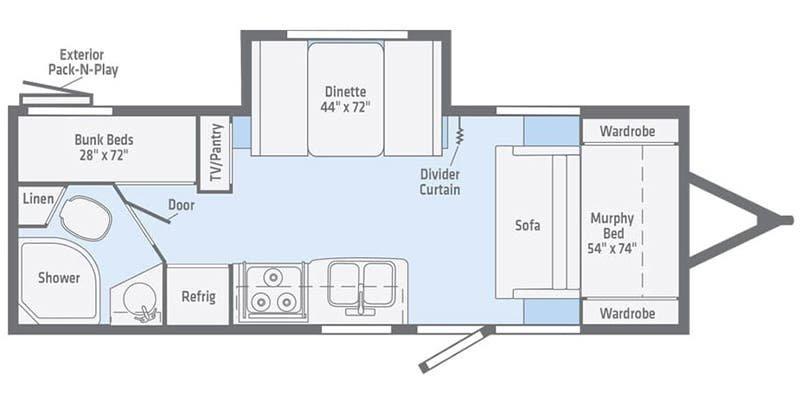 2022 WINNEBAGO Micro Minnie 2306BHS Floorplan