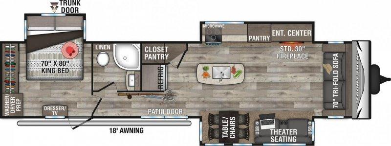 2021 SPORTSMEN  BY KZ INC DESTINATION 363FL Floorplan