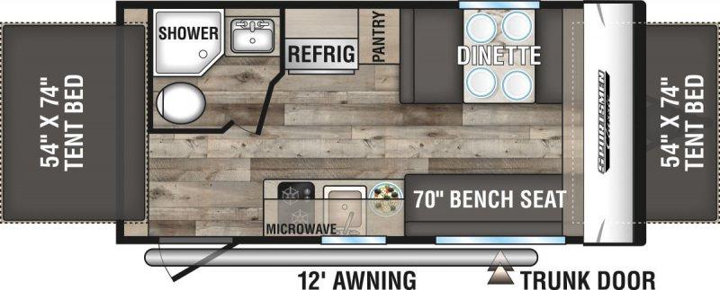 2021 K-Z INC. SPORTSMEN CLASSIC 160RBT Floorplan
