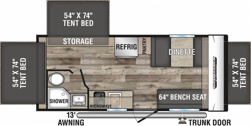 2022 K-Z INC. SPORTSMEN CLASSIC 180RBT Floorplan
