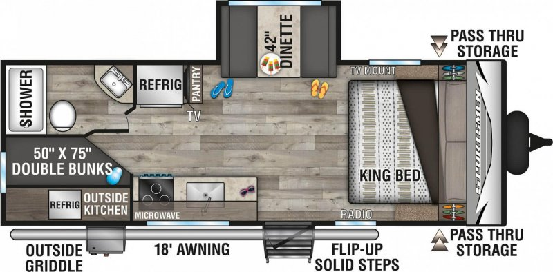 2021 K-Z INC. Sportsmen 231BHKLE Floorplan