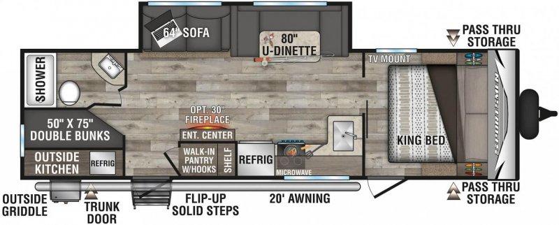 2021 K-Z INC. SPORTSMEN LE 281BHKLE Floorplan