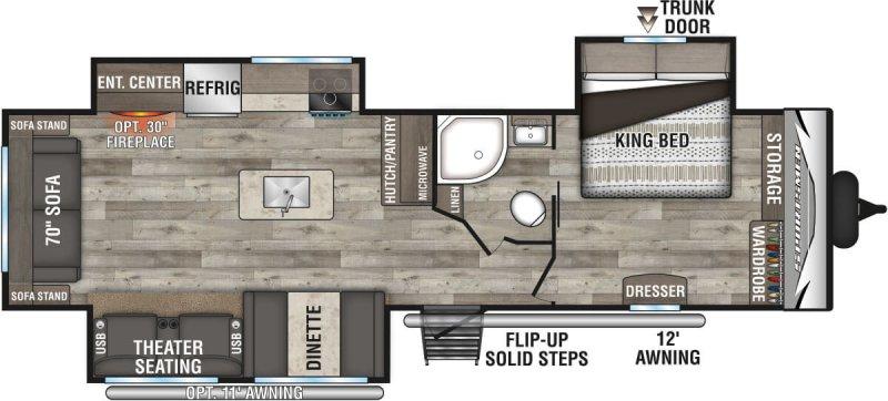 2021 K-Z INC. Sportsmen LE 303KBLE Floorplan