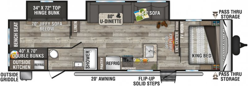 2021 K-Z INC. Sportsmen LE 332BHKLE Floorplan
