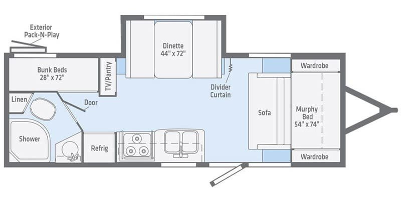 2021 WINNEBAGO Micro Minnie 2306BHS Floorplan
