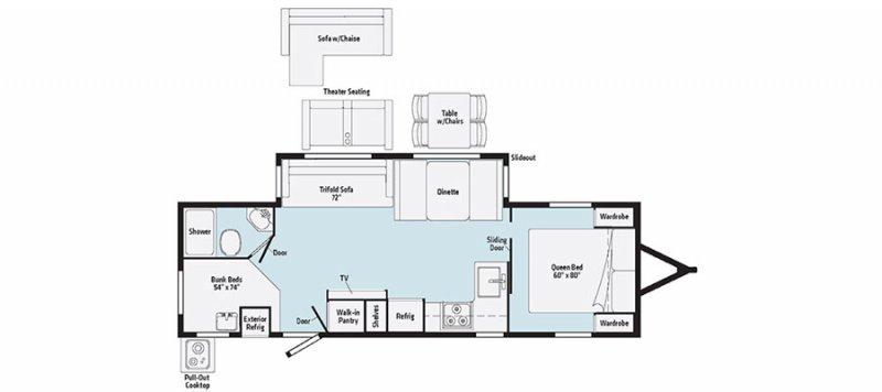2022 WINNEBAGO Minnie 2801BHS Floorplan