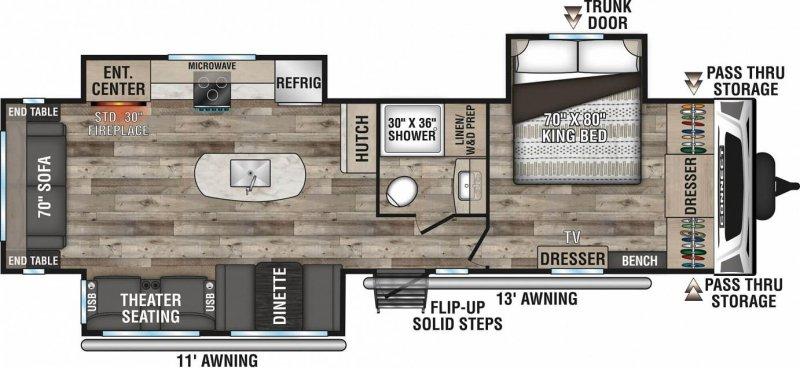 2021 K-Z INC. Connect 313MK Floorplan