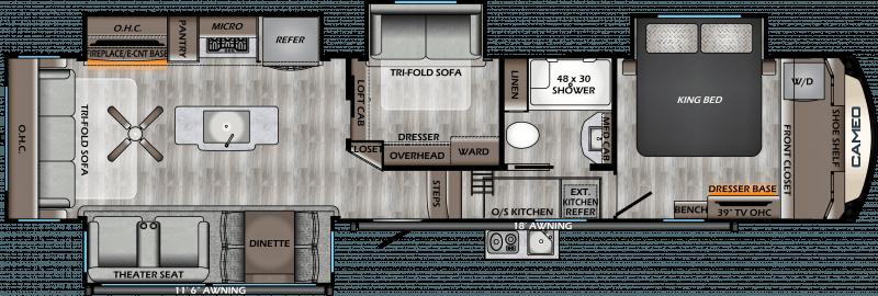 2021 CROSSROADS CAMEO 3961MB Floorplan