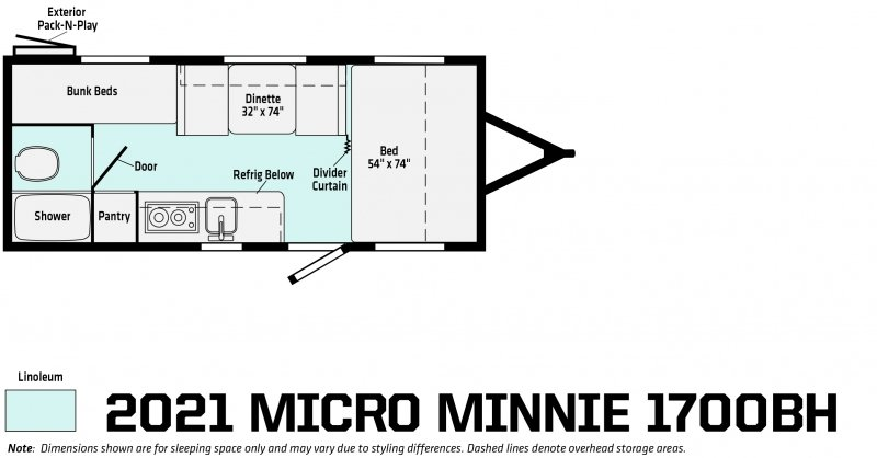 2021 WINNEBAGO Micro Minnie 1700BH Floorplan
