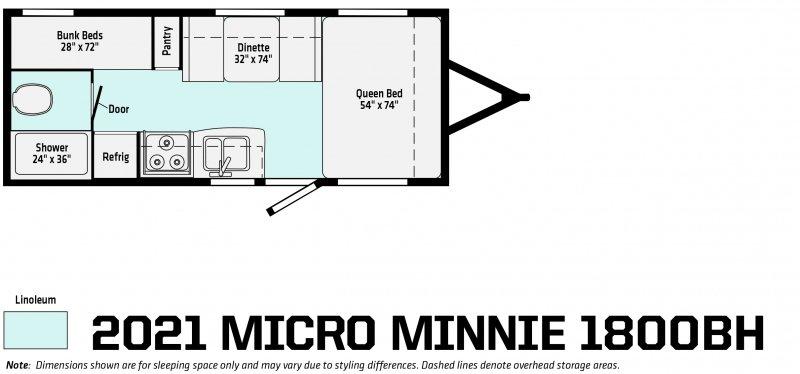 2021 WINNEBAGO Micro Minnie 1800BH Floorplan