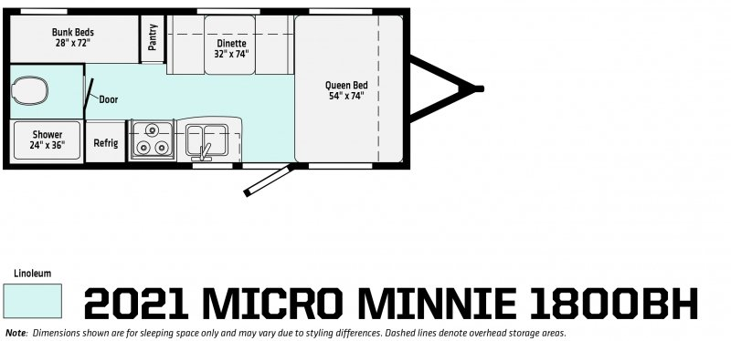 2021 WINNEBAGO Micro Minnie 1800BH Floorplan