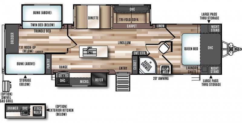 2019 FOREST RIVER HEMISPHERE 300BH Floorplan