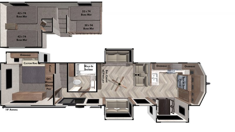 2021 FOREST RIVER SALEM GRAND VILLA 42FK Floorplan