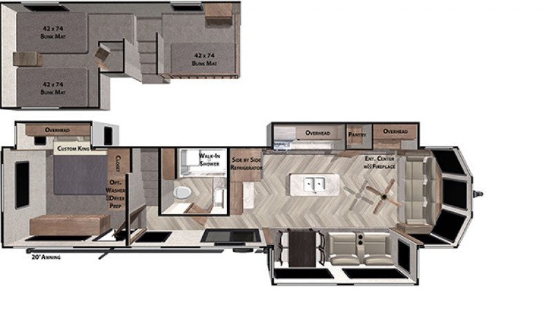 2021 FOREST RIVER SALEM GRAND VILLA 42FLDL Floorplan