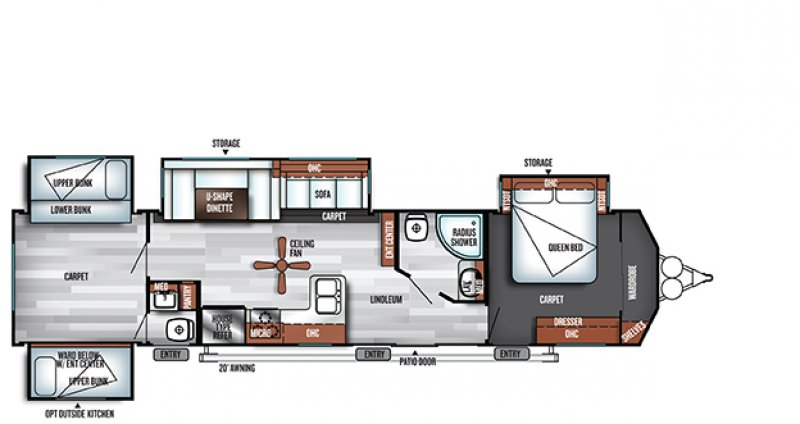 2019 FOREST RIVER VILLA CLASSIC 402QBQ Floorplan