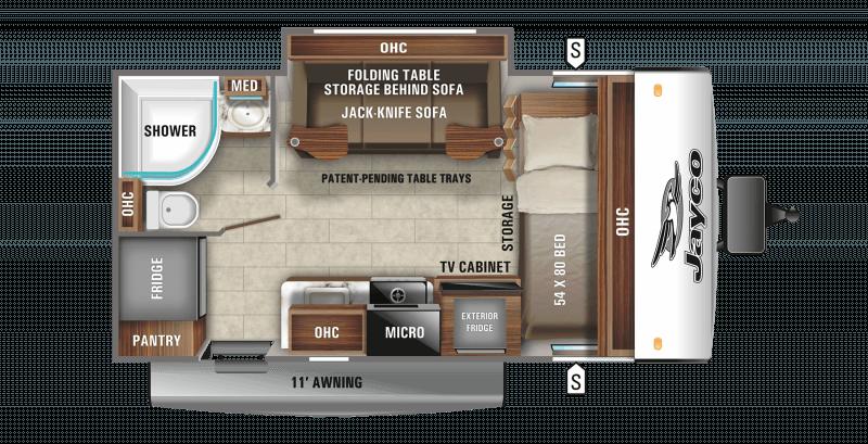 2021 JAYCO JAY FEATHER MICRO 166FBS Floorplan