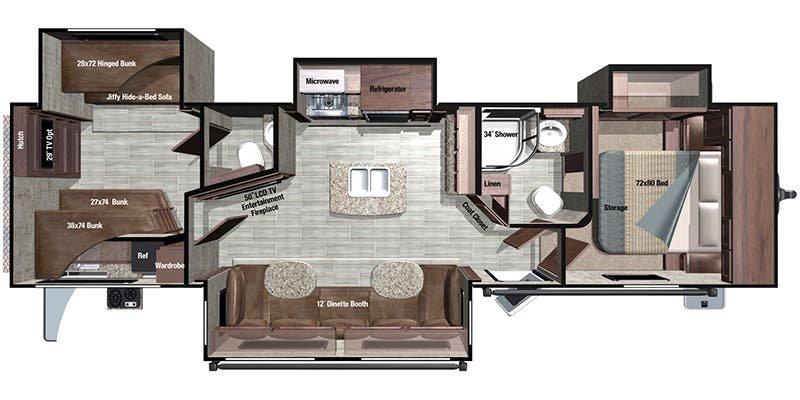 2018 HIGHLAND OPEN RANGE 328BHS Floorplan