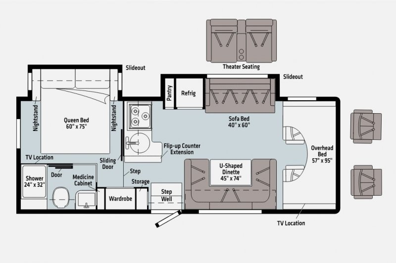 2022 WINNEBAGO MINNIE WINNIE 26T Floorplan