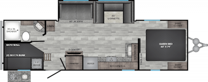 2021 CROSSROADS ZINGER LITE 280BH Floorplan