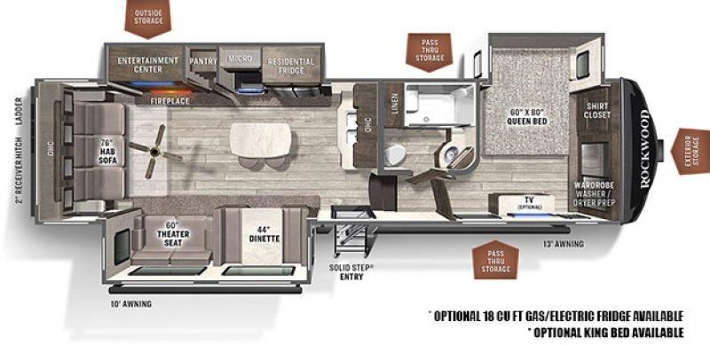 2021 FOREST RIVER ROCKWOOD ULTRA LITE 2893BS Floorplan