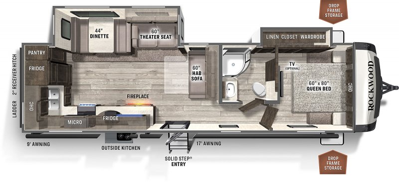 2021 FOREST RIVER ROCKWOOD ULTRA LITE 2902SW Floorplan