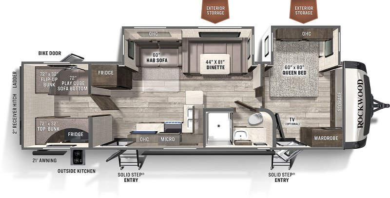 2021 FOREST RIVER ROCKWOOD ULTRA LITE 2911BS Floorplan