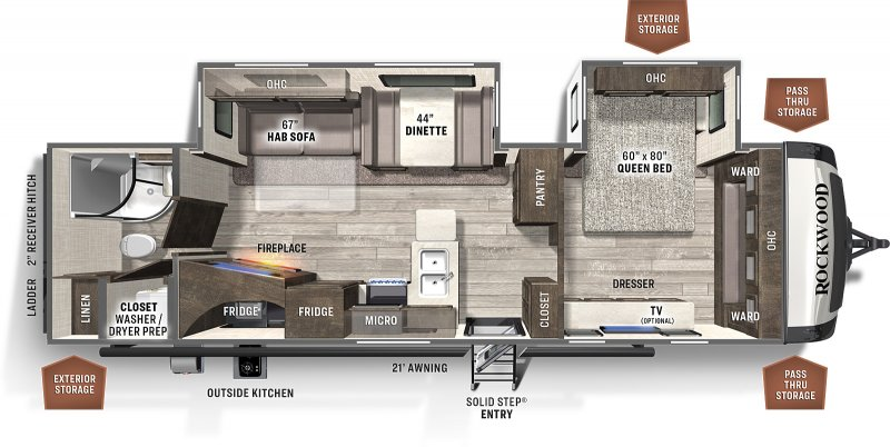 2021 FOREST RIVER ROCKWOOD ULTRA LITE 2912BSD Floorplan