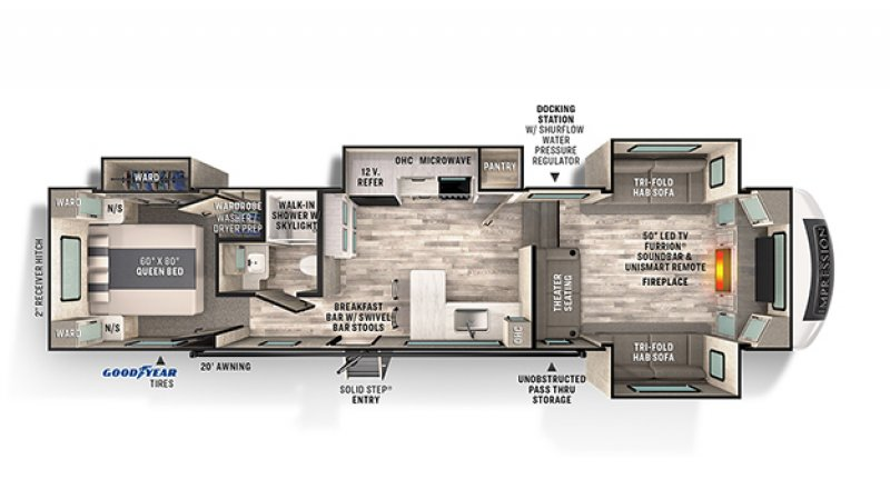 2021 FOREST RIVER IMPRESSION 320FL Floorplan