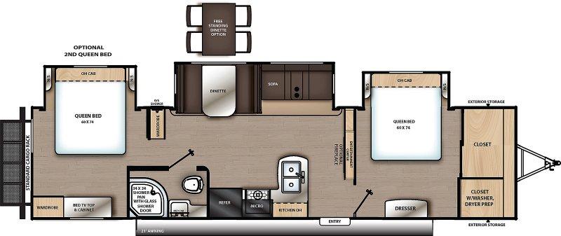 2021 COACHMEN CATALINA LEGACY EDITION 343BHTS Floorplan