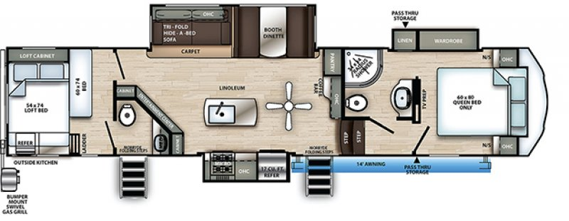2021 FOREST RIVER SANDPIPER C CLASS 3440BH Floorplan