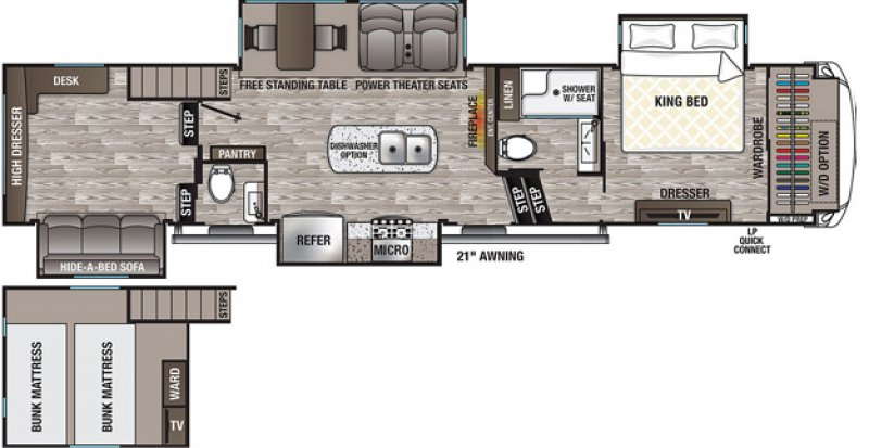 2021 FOREST RIVER CEDAR CREEK SILVERBACK EDITION 35LFT Floorplan