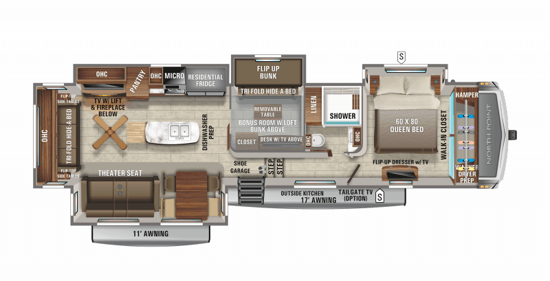 2021 JAYCO NORTH POINT 377RLBH Floorplan